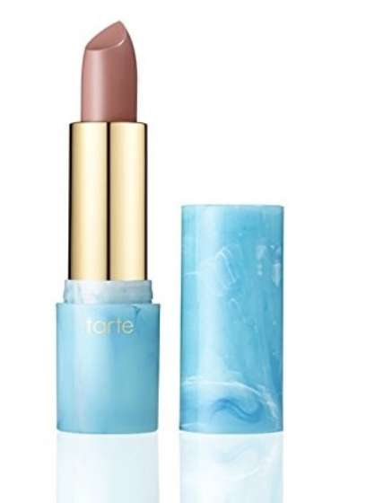 """tarte rainforest of the sea color splash lipstick - This is my go-to every day lipstick. It lives in my purse and goes with literally everything. It comes in many shades, but I have it in shade """"rum punch"""" which is a very settle pinky color."""