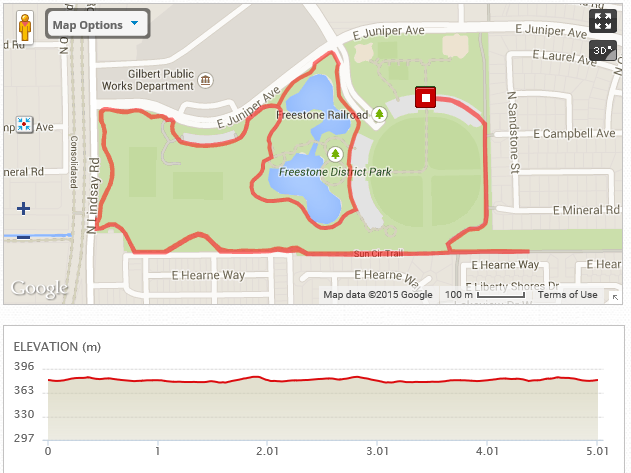 5K Course Map at Freestone Park