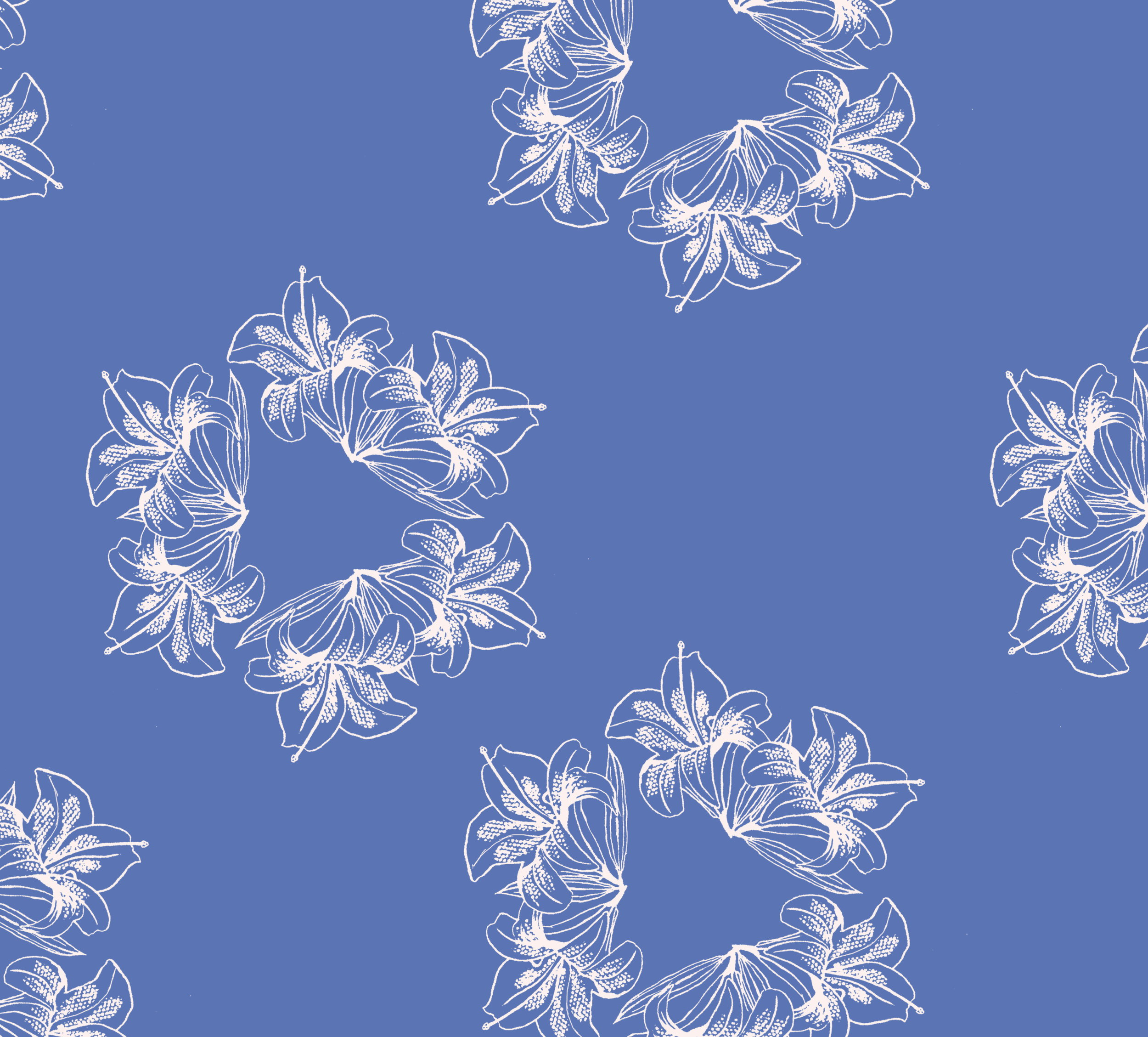 Portuguese Tri-Flower ~ Bleached Denim