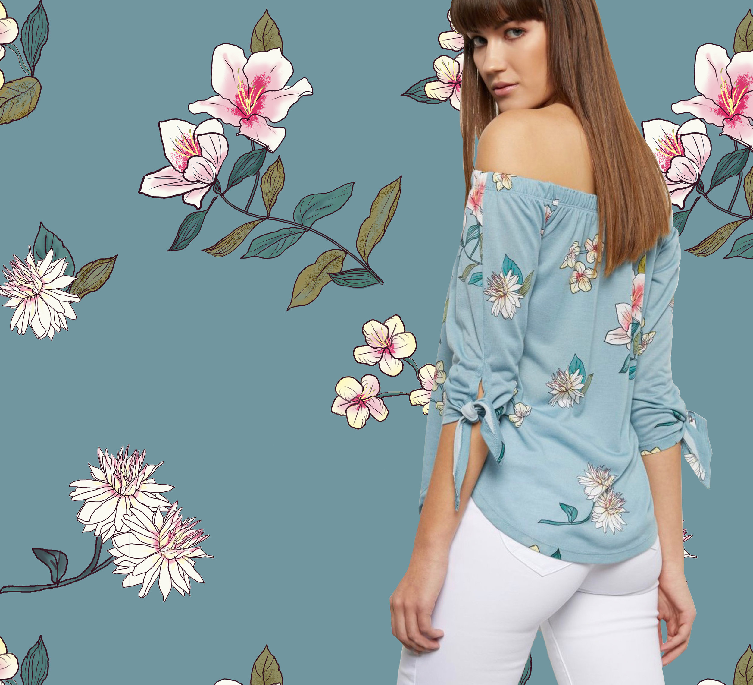 Tropical Floral ~ Blue Sea-foam | Macy's