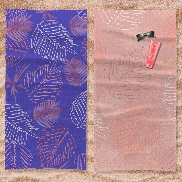 DAY 10 of #100daysofreconstructedpaintedpatterns  I think this Palm Paradise print is look'n alright on these beach towels. ⛱🏄🏽‍♀️ Which combo do you like better? . . . #artlicensing #surfacepatternlife #tropicalpattern #pattern #patterndesign #textilepattern #printsandpatterns #garmentprints #licensedprints  #watercolorfloral #Hawaiian  #stationaryshop #wallpaperprint  #paradise #botanicalprint #swimwearprint #designlife #surfacedesign #summerprints  #tropical #palmleafpattern #textiledesign #palmleafprint #bananaleafpattern #sketchoftheday #whitepalm #surfacepattern #surfacepattern #patterndesign