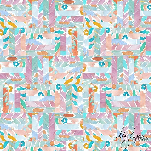 DAY 11!! of #100daysofreconstructedpaintedpatterns  So this one really fits my hashtag & is a true reconstructed pattern. I used watercolor to paint butterfly wings & then into Photoshop to splice my design & play a little Tetris. 🧩🦋🎨 . . . #artlicensing #surfacepatternlife #butterfly #surfacepatterndesign #patterndesign #textilepattern #printsandpatterns #garmentprints #licensedprints  #watercolor #Abstractpattern  #stationaryshop #wallpaperprint  #inspo #handpainted #swimwearprint #designlife #surfacedesign #summerprints  #patternplay  #reconstructed #textiledesign #art #puzzle #sketchoftheday #abstract  #surfacedesign #surfacepattern #patterndesigners