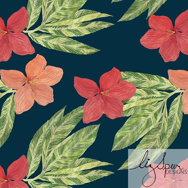 DAY 18🌺🌴 of #100daysofreconstructedpaintedpatterns  This is sorta a wip. Just needs to be cleaned up. Can wait to see what this baby ends up on. Enjoy your Saturday nite! . . . #artlicensing #surfacepatternlife #tropicalpattern #pattern #patterndesign #textilepattern #printsandpatterns #garmentprints #licensedprints  #watercolorfloral #Hawaiian  #stationaryshop #wallpaperprint  #paradise #botanicalprint #swimwearprint #designlife #surfacedesign #summerprints  #tropical #palmleafpattern #textiledesign #palmleafprint #bananaleafpattern #sketchoftheday #hibiscus #surfacepattern #surfacepattern #patterndesigners