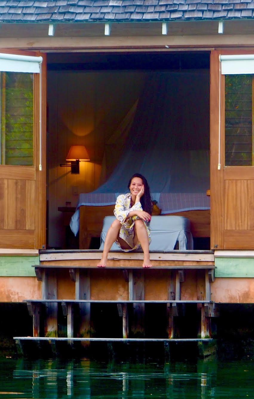 Feeling Irie in my little lagoon cottage at Goldeneye in Oracabessa Jamaica.