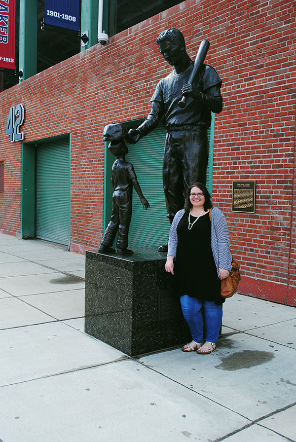 Christina-LeBlanc-with-statue-at-Boston-Red-Sox-Fenway-Park-by-Live-the-Movies.jpg