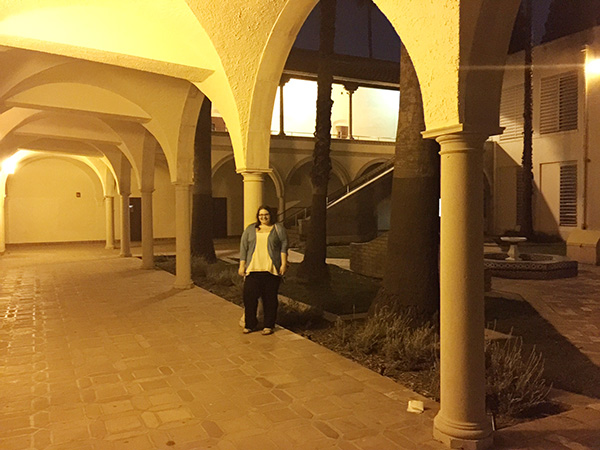 Christina-LeBlanc-in-courtyard-hallway-at-Torrance-High-School-as-Sunnydale-High-photo-by-Live-the-Movies.jpg