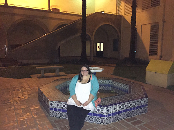 Christina-LeBlanc-with-fountain-at-Torrance-High-School-as-Sunnydale-High-photo-by-Live-the-Movies.jpg