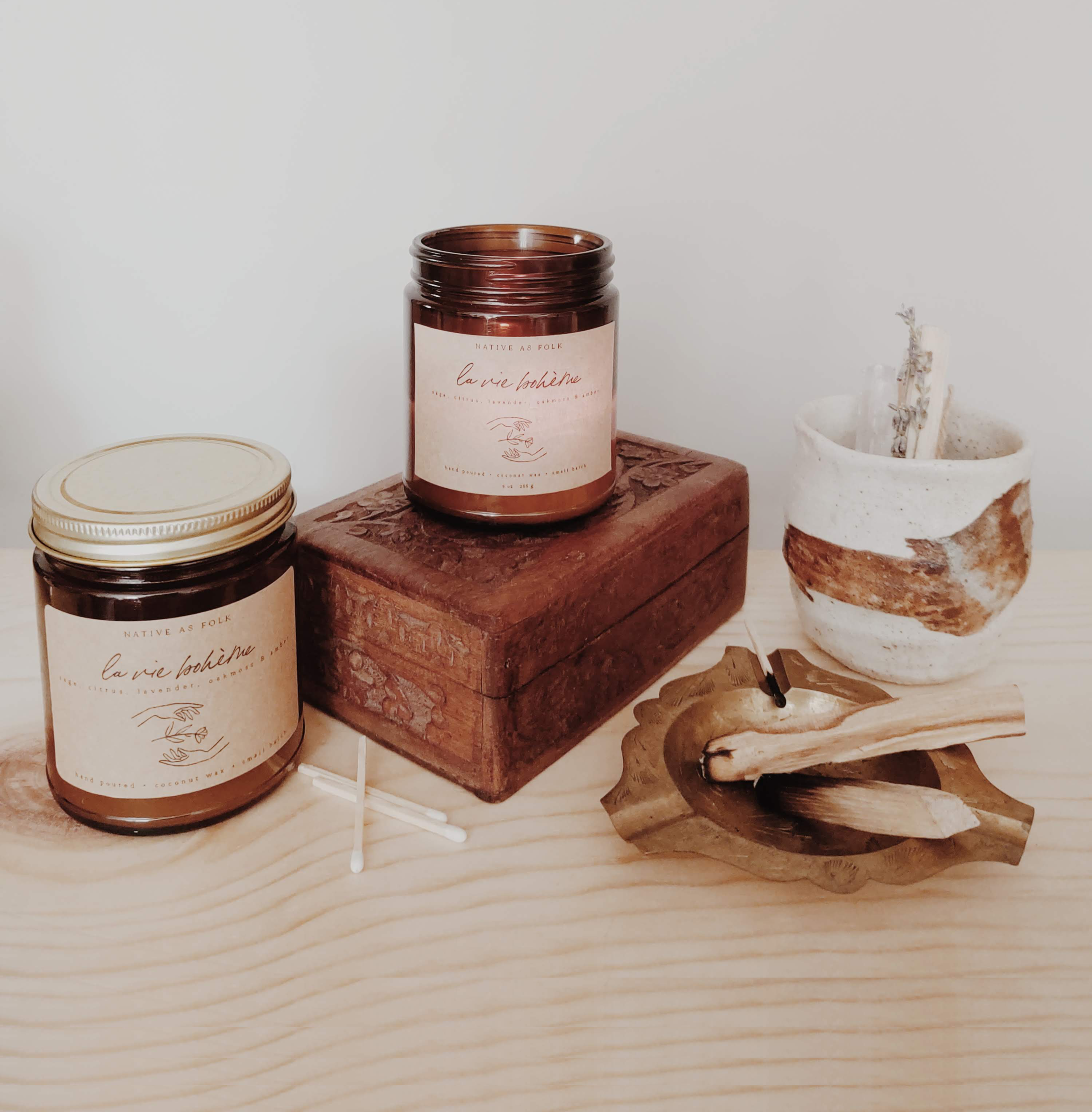 organic + vegan + sustainable - Our candles are handcrafted with a base blend of organic, renewable coconut wax, GMO-free soy wax, a lead-free hemp wick, and pure essential oils.