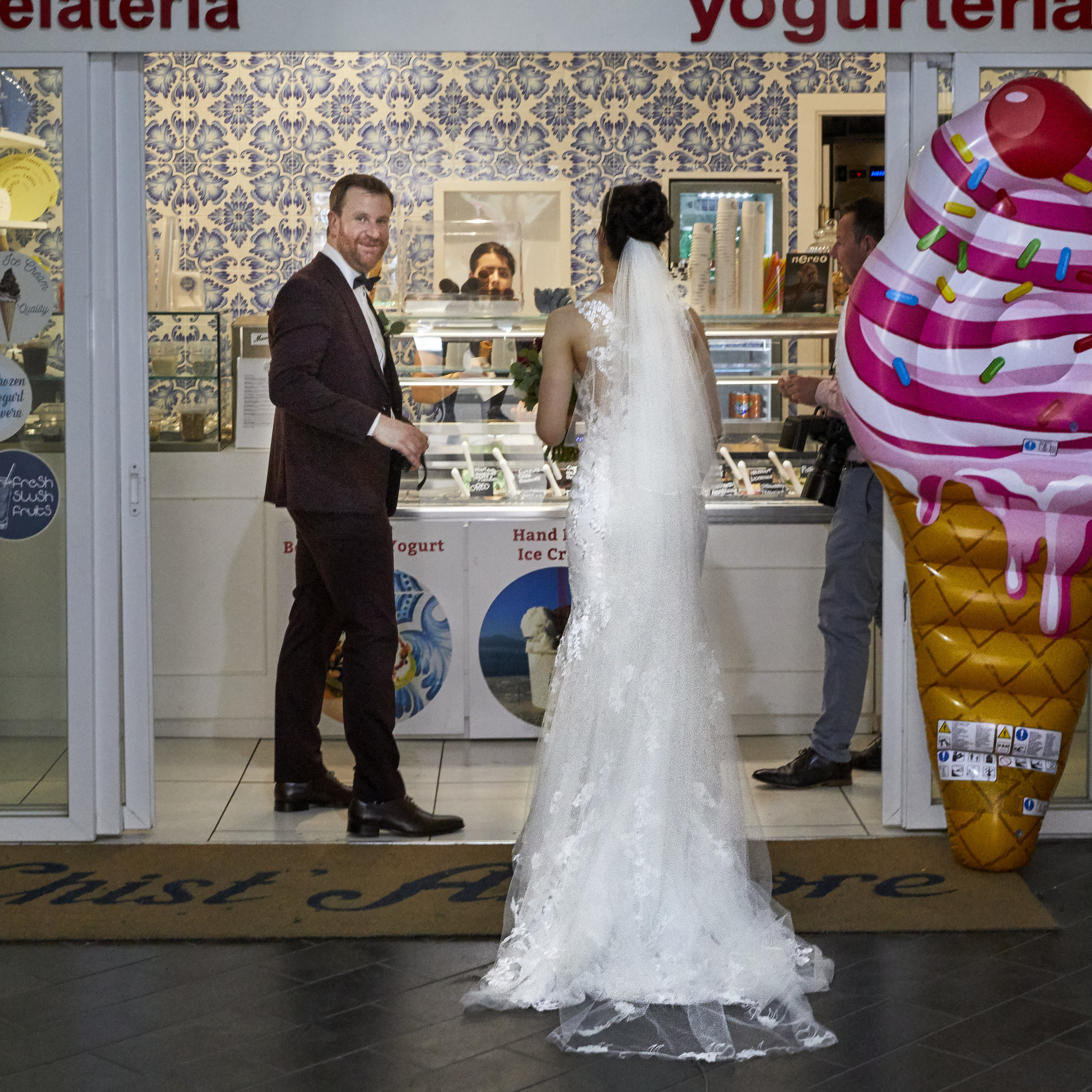 Bride and groom celebrating with Gelato. Sorrento Italy.