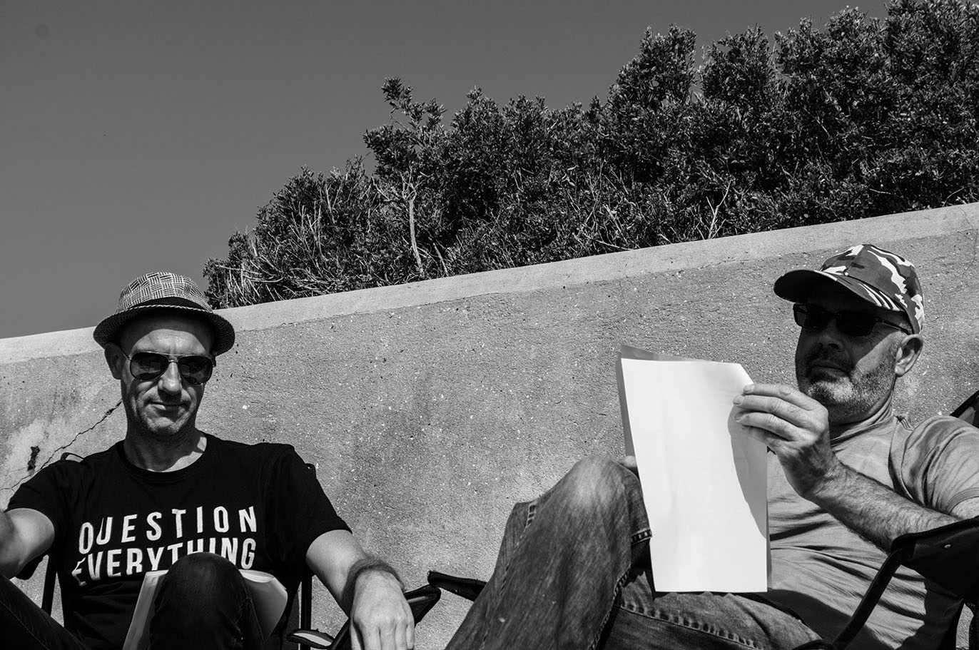 Postcard image 13 - The Island Play: Reading (#96), featured performers: Lance Youston (L), Michael Morgan (R).Photography: Zac Schubert-Youston.Creative Occupation stock image of filming The Island Play (written by Scott Welsh), at South Channel Fort Island, 2018.