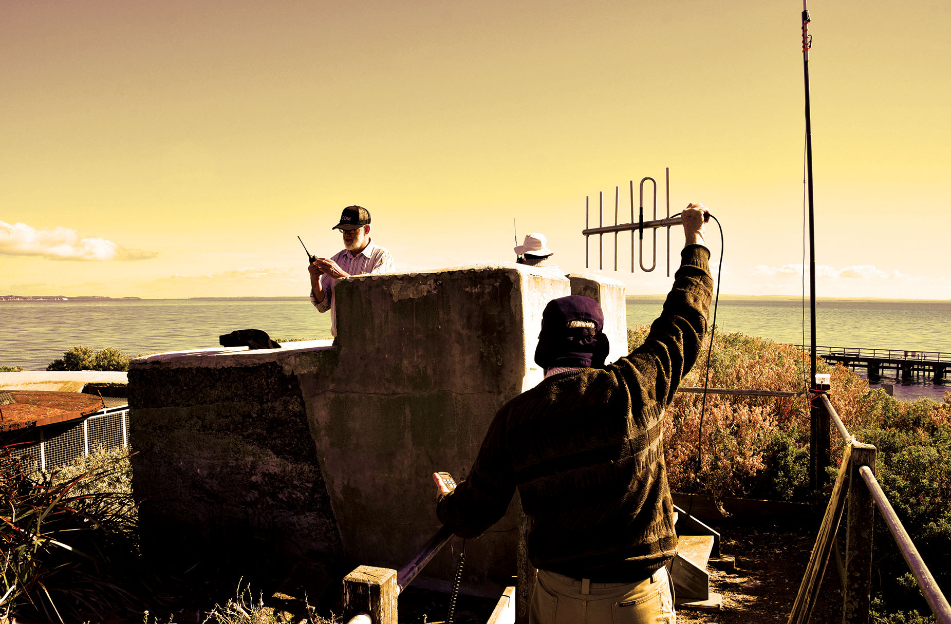 Postcard image 24 - Signal sending. Photography: Michael Morgan, Marita Batna.Creative Occupation stock image of field activity in collaboration with Geelong Amateur Radio Club at South Channel Fort Island, 2018.