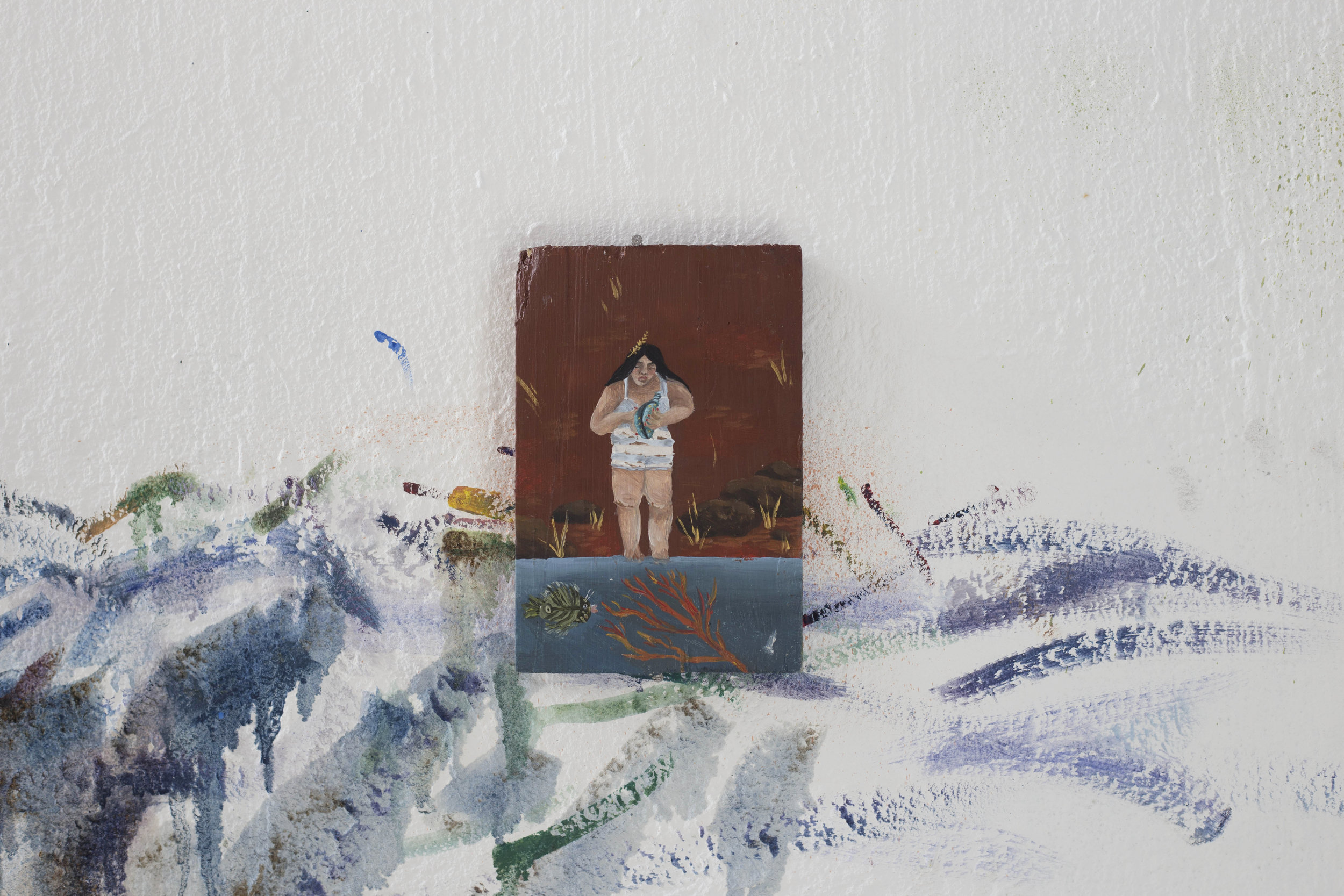 Marguerite Piard, Plage rouge, 2018, Acrylic and oil on wood, 15x9.9cm signed on the back. Certificate of authenticity.   EUR 200