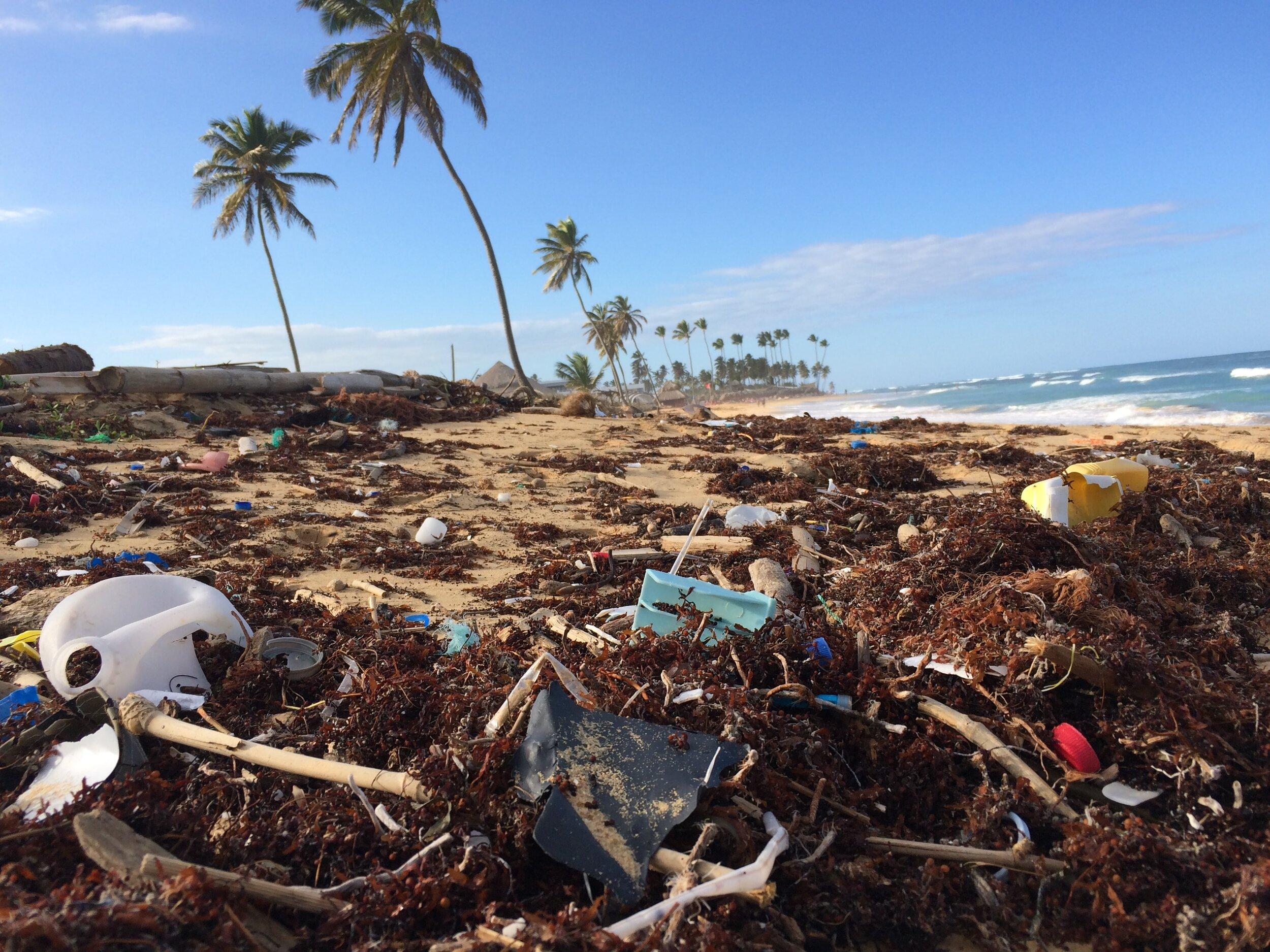 Rubbish on tropical island