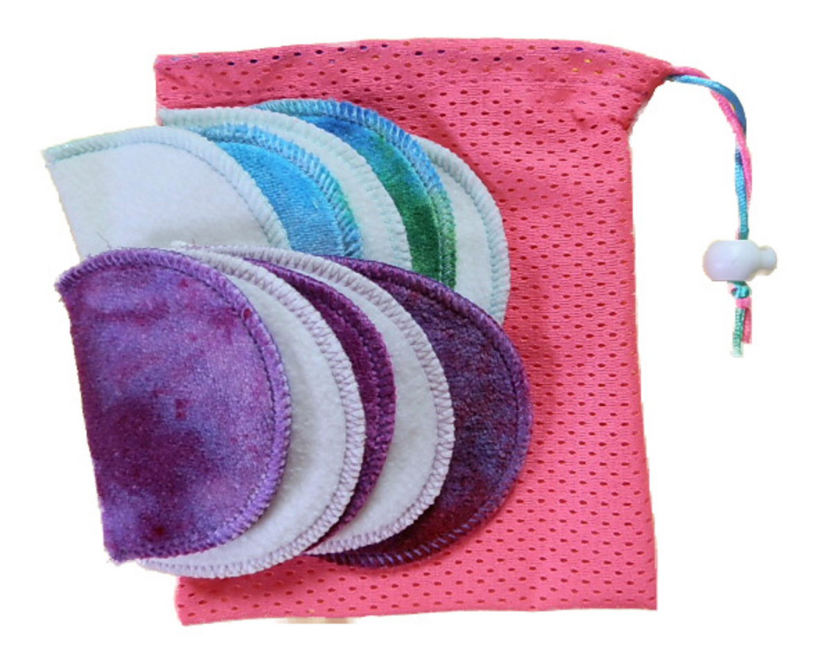 Colourful reusable makeup removal cloths, complete with a wash bag. Photo credit:  Boobalou
