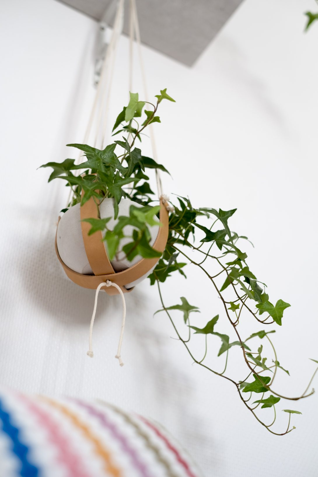 sospensione vaso in cuoio DIY