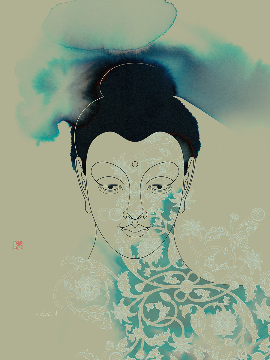 Blue Gautama Buddha , Purchase prints via  Society6