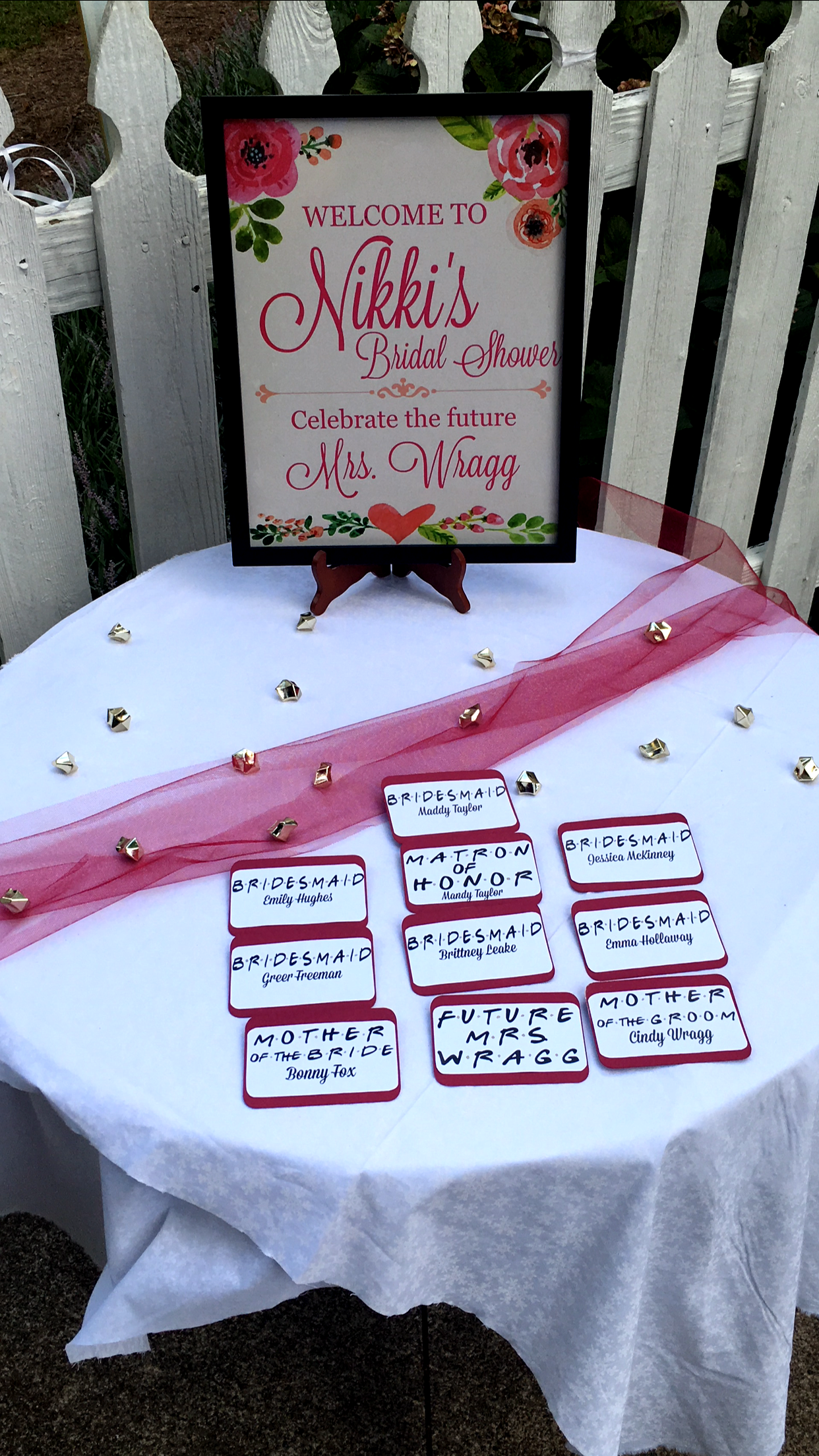 Again, I designed all the signs and printed them at Walgreens. I printed and cut out badges for the bridal party and moms. I downloaded the FRIENDS font to bring in the theme!