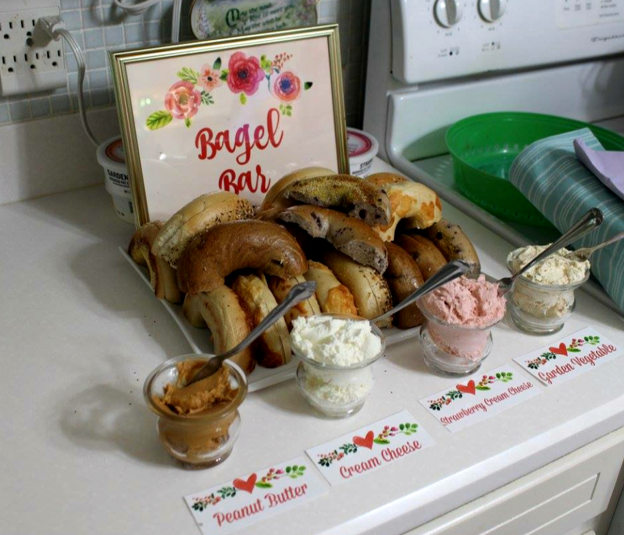 I bought bagels from a local bakery and cut them in half! With so many breakfast options to choose from, this helped the bagels go further! I added some toppings for the bagels and had a cute bagel bar!