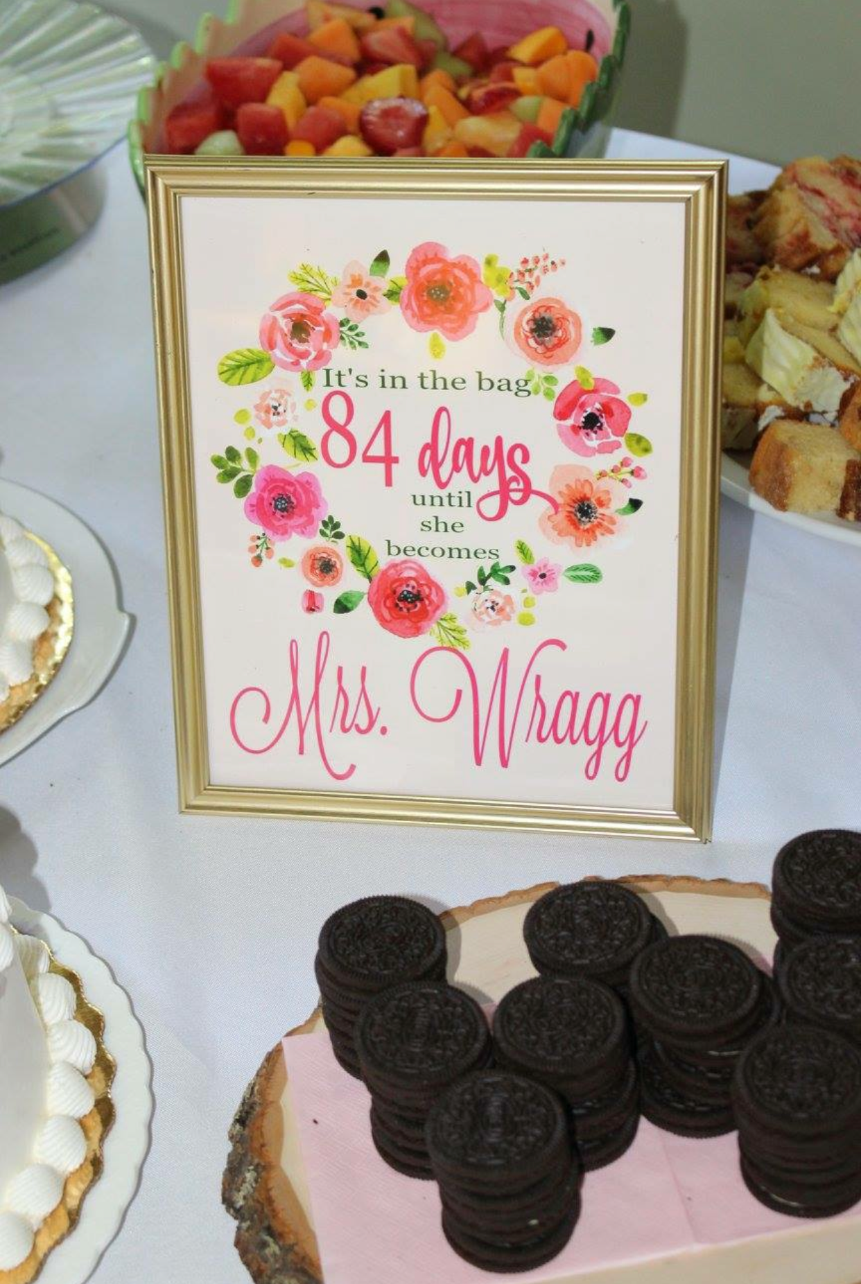 "LOTS of breakfast options! I think the guest list included almost 50 guests. The bride loves Oreos, so I stacked them up in the shape of a ""W"". I designed a cute sign for the countdown- printed it all at Walgreens! Wait for a code and you can get great quality pictures for a STEAL!"