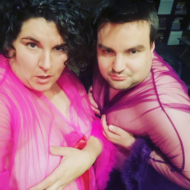 """Got 2 more """"I murdered my husband but I look fabulous, daaaahling"""" robes and my husband was more than happy to help me model them 😂  Now the question is, are you a hot pink, purple, or wine color robe wearing mistress?"""