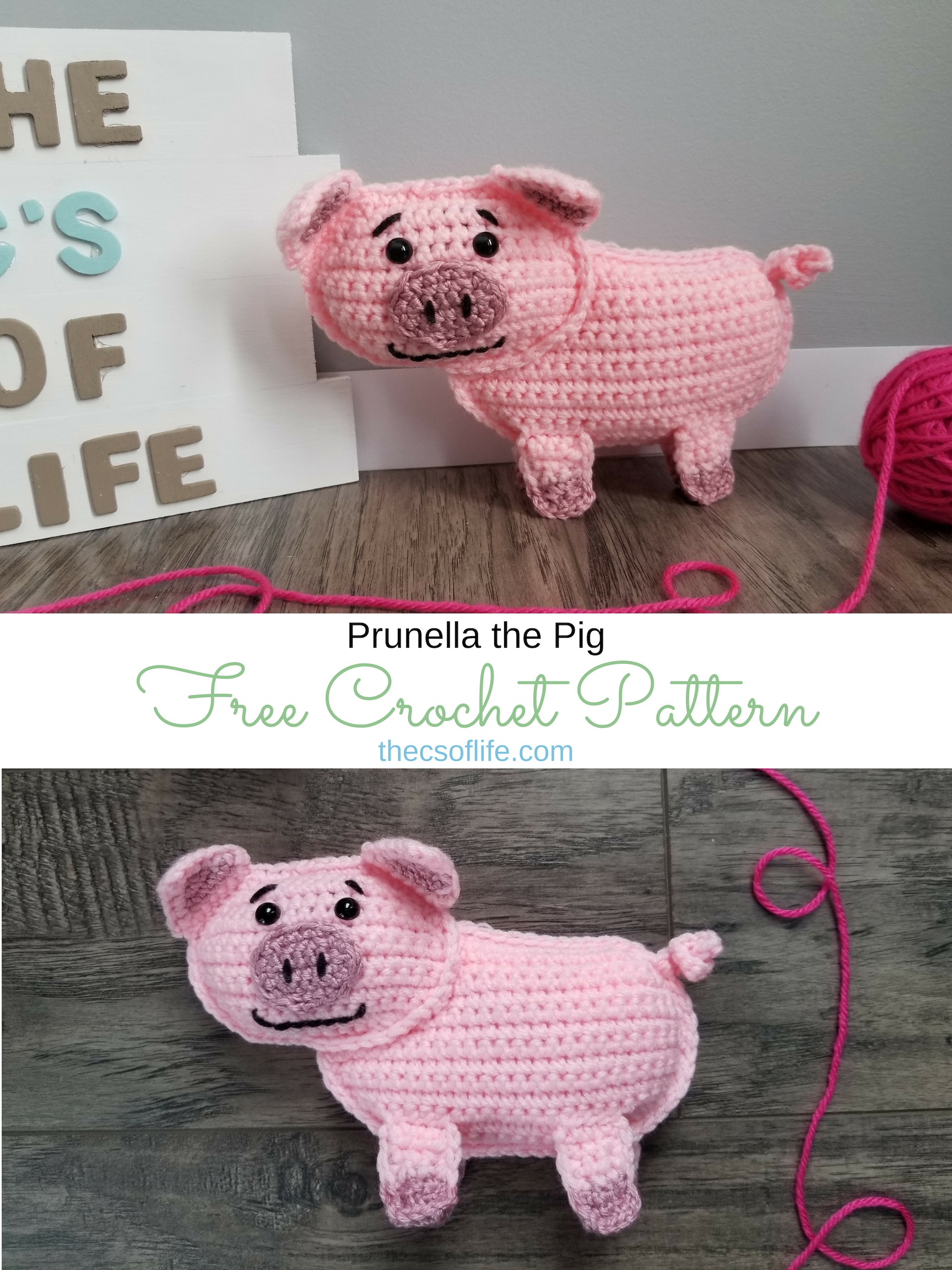 Prunella the Pig - Free Crochet Pattern