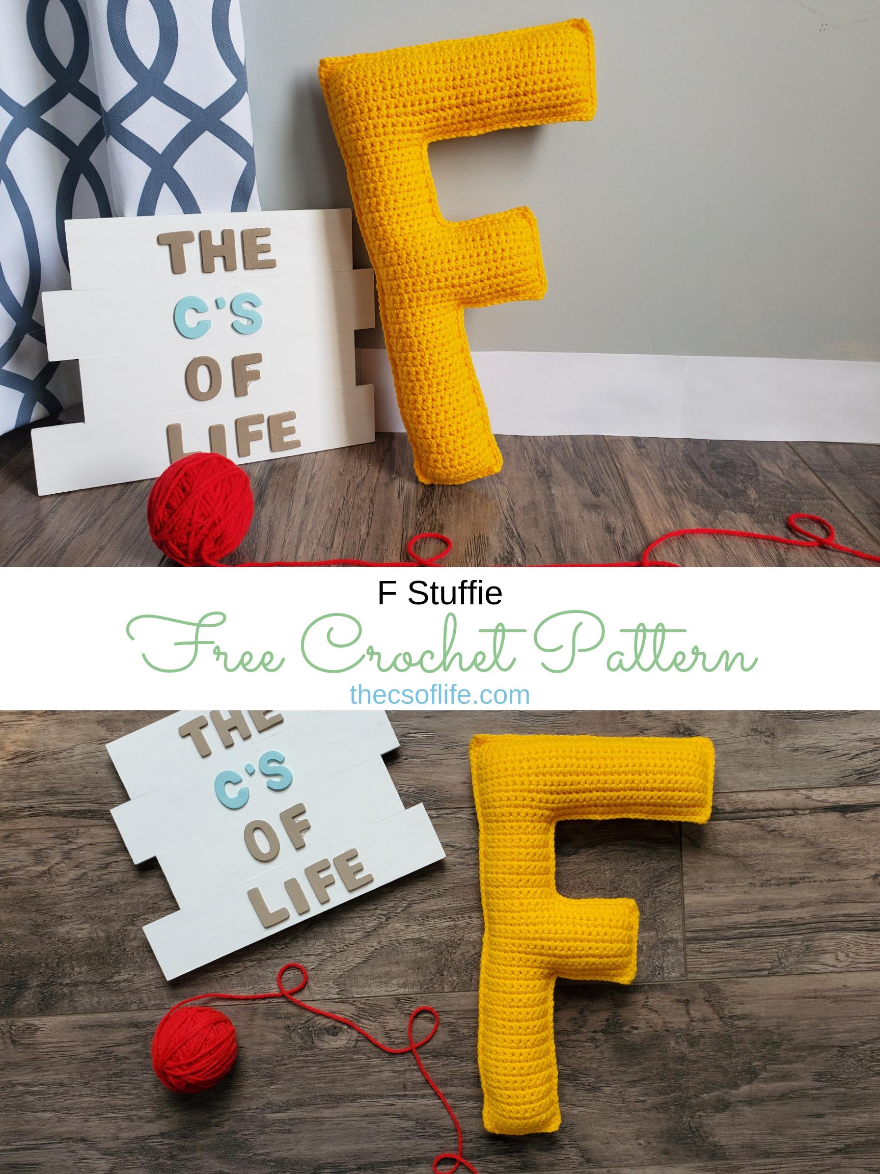 F Stuffie - Free Crochet Pattern