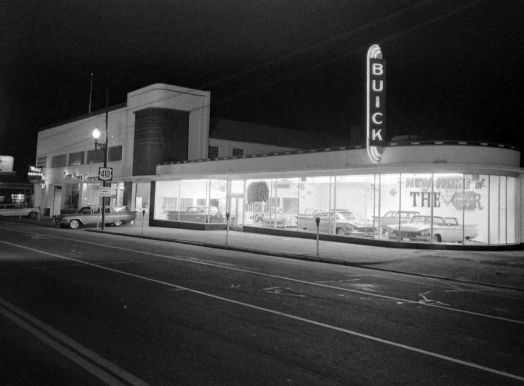 The building where Bledsoe Family Winery, Sears, and Trove reside had been a Buick dealer.