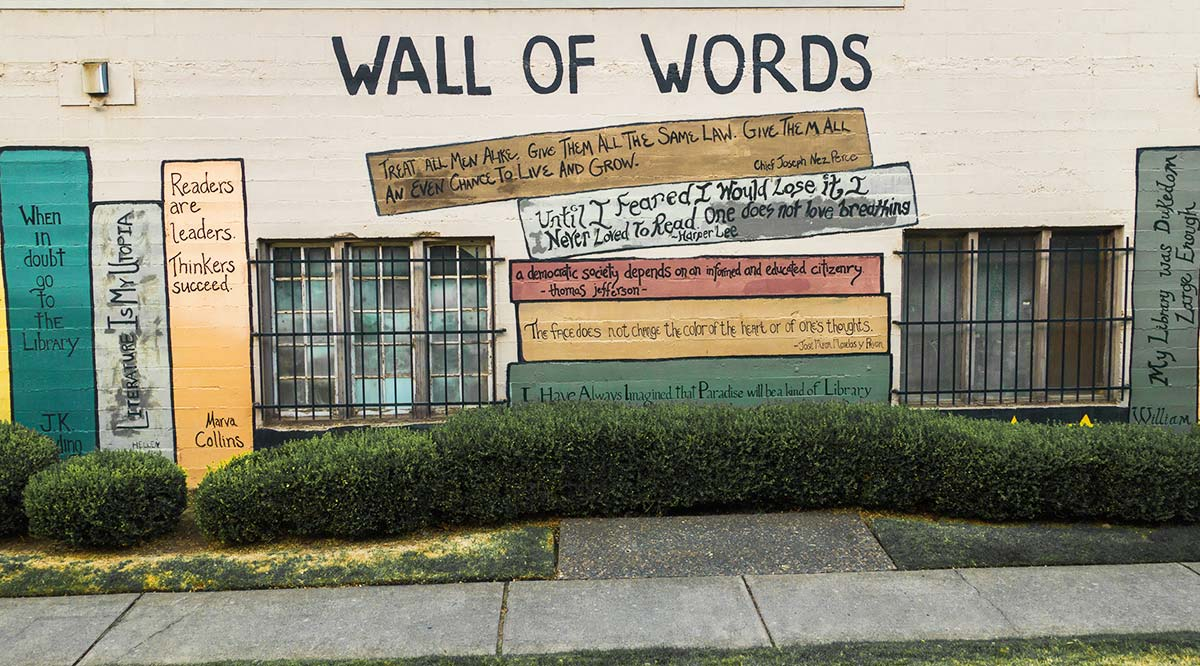 The Wall of Words mural near the Walla Walla Library parking lot