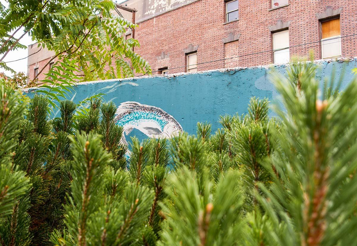 The mural behind Heritage Park