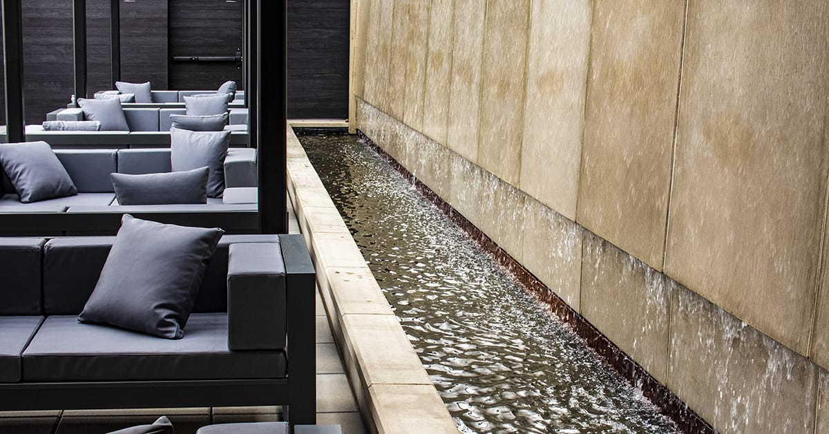 The waterfall is a touch that takes the tasting room to another level.