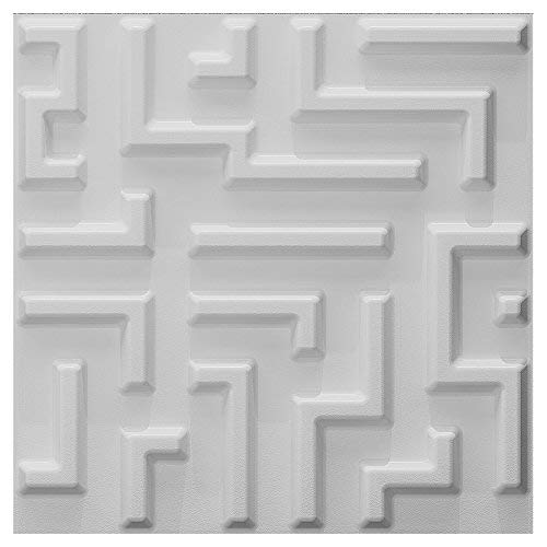 A bold, 3D tile in white