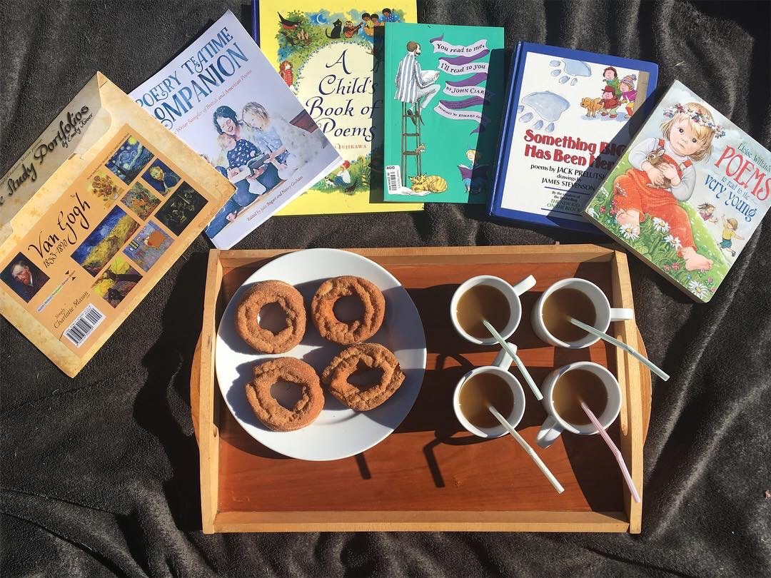 Poetry Tea Time - October 2018 with apple cider donuts and apple cider of course!