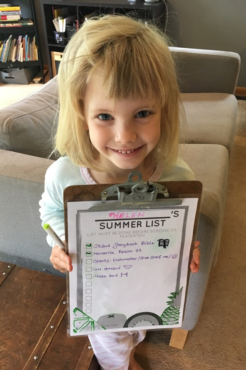 Helen (4) has her own summer list with drawings to help her remember each task. She's very proud of herself!