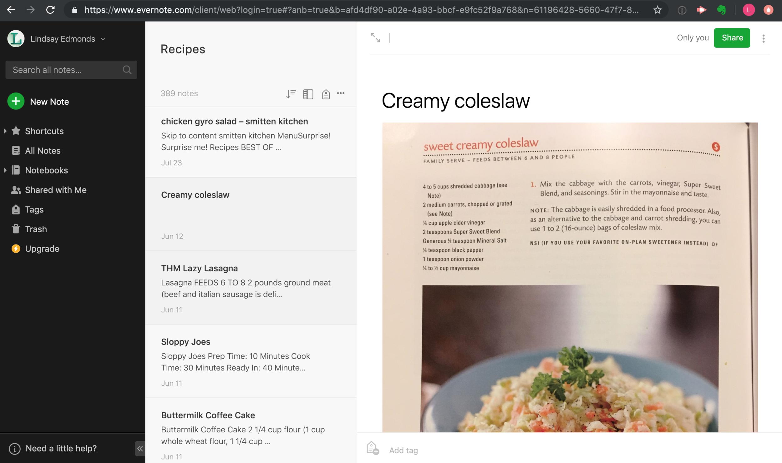 Screenshot of my evernote recipes notebook