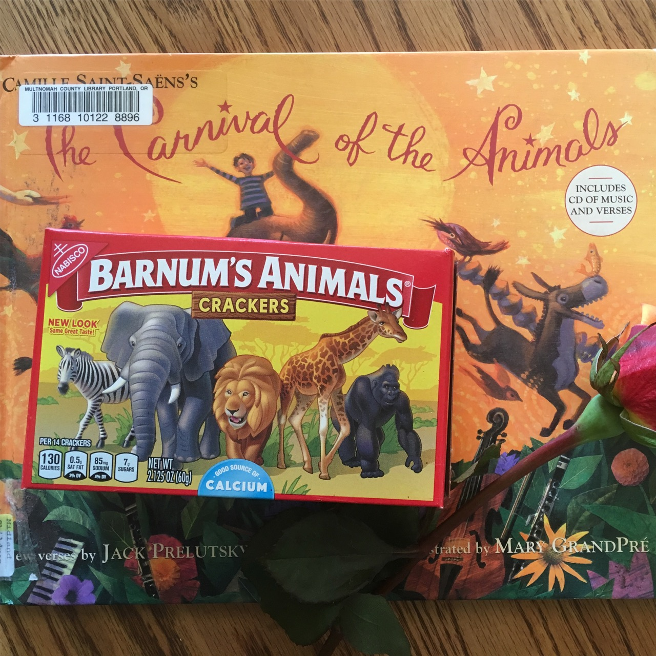 Jack Prelutsky's fabulous poem collection that goes alongside Carnival of the Animal, a famous work of music by Camille Saint-Saens's. Why not pair it with animal crackers?