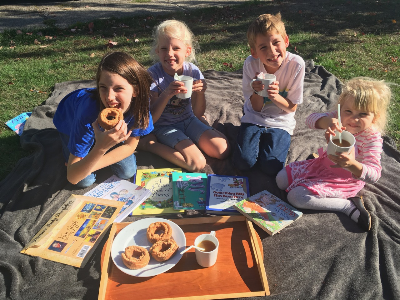Our Fall Poetry Tea with Apple Cider donuts and Apple Cider (from Trader Joes)!