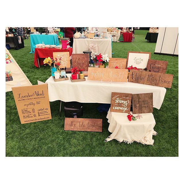 Our setup at the #ChristmasGiftShow in Danbury 😍 ••• #LavenderandWood #handlettered #moderncalligraphy #woodsigns
