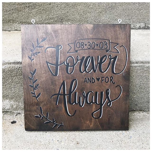 I just shipped this beauty to a customer in Wyoming. He and his wife are celebrating their 15th wedding anniversary. I'm so honored to have been able to make this for them ❤️ . . . . . #moderncalligraphy #handlettering #lettering #woodsigns #woodensigns #wooddecor #handlettered #handletteredsigns #rusticdecor #anniversarygift #weddinggift #etsy #foreverandforalways