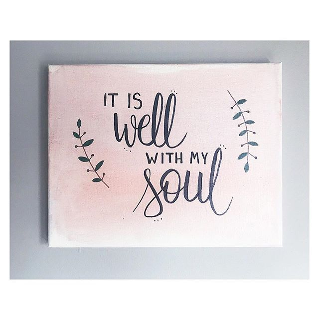 New hand-lettered #watercolor canvases have been added to the shop! I will be creating TONS of these to have in stock. So excited 😆 • • • #ItIsWellWithMySoul #handlettering #moderncalligraphy #watercolorcanvas #watercolordesign