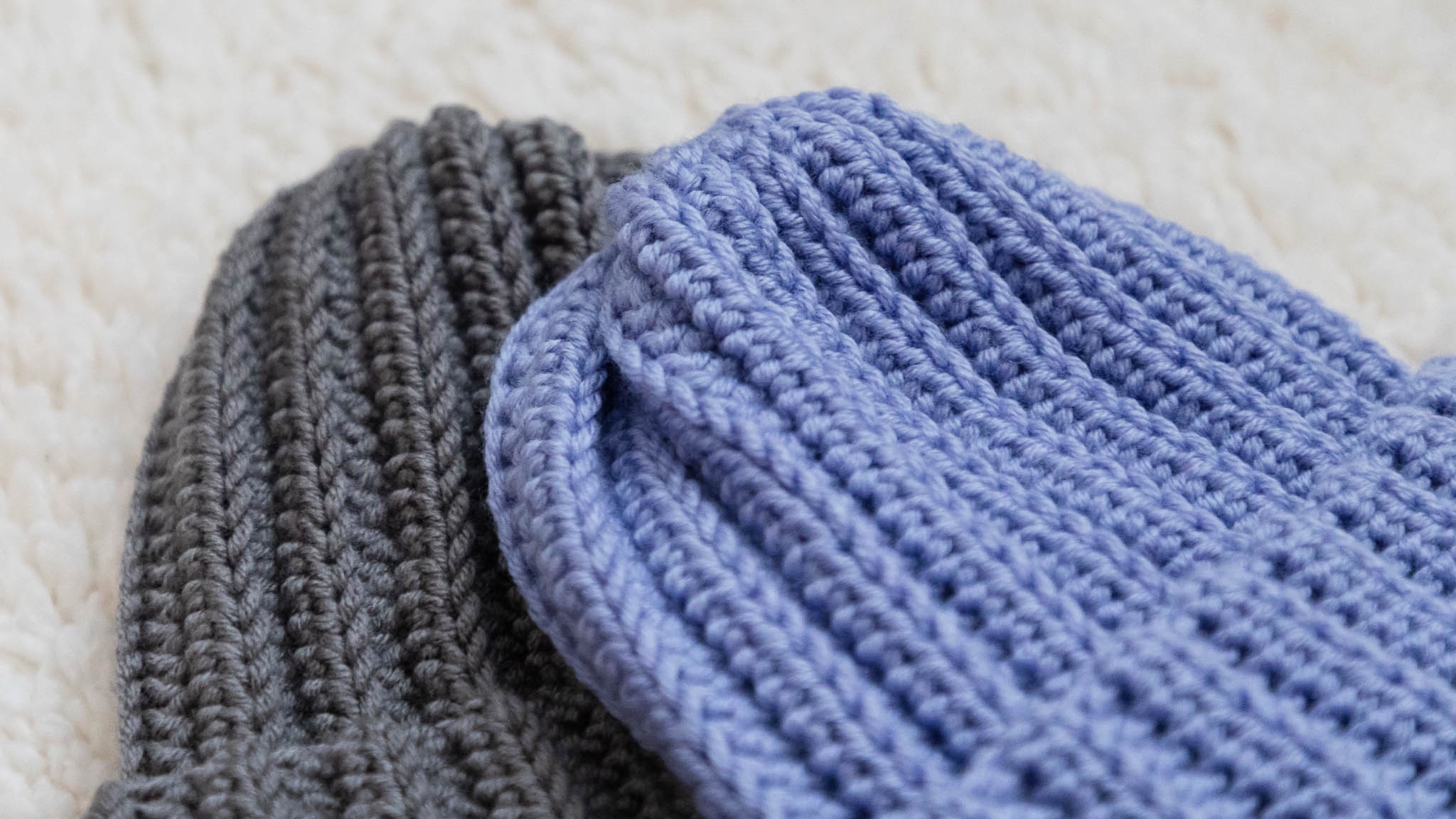 "Slouchy Ribbed Beanie - Made with Color Made Easy in ""Basalt"" & ""Horizon"""