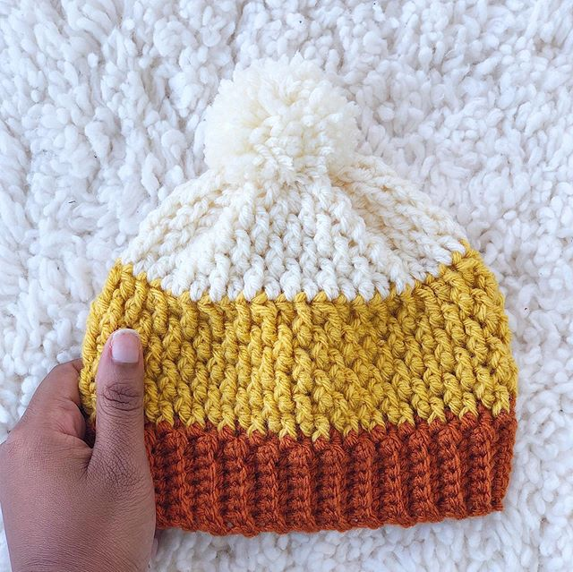 There's an adorable toddler boy in Nevada is going to rock this during his family's portrait session 😍 ••• Hat: #PumpkinSpiceBeanie Pattern: Not yet written Yarn: #VannasChoice • • • #LarJcrochets #crochet #crochetaddict #crochetersofinstagram #instacrochet #thehooknookers #crochetlife #makersgonnamake #makerstribe #crochetgirlgang #candycorn #crochethat