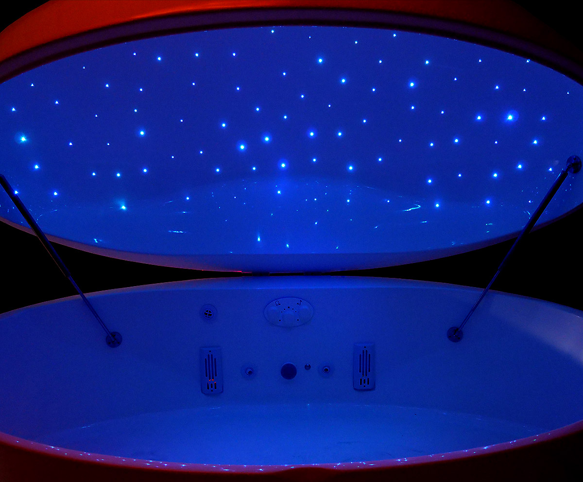 Fiber Starlight Option - All Superior Float Tanks can be equipped with an upgraded fiber-optic starlight ceiling. The stars can change color and twinkle in and out of the 150 fiber-optic strands that are micro-drilled and threaded into the lid of the pods. Operator controls star color, balance, and fade.