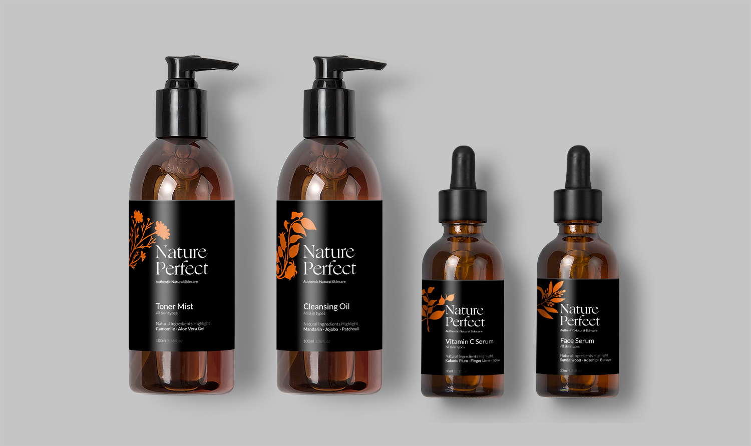Graphic Design Example - Nature Perfect Skincare logo design and packaging design