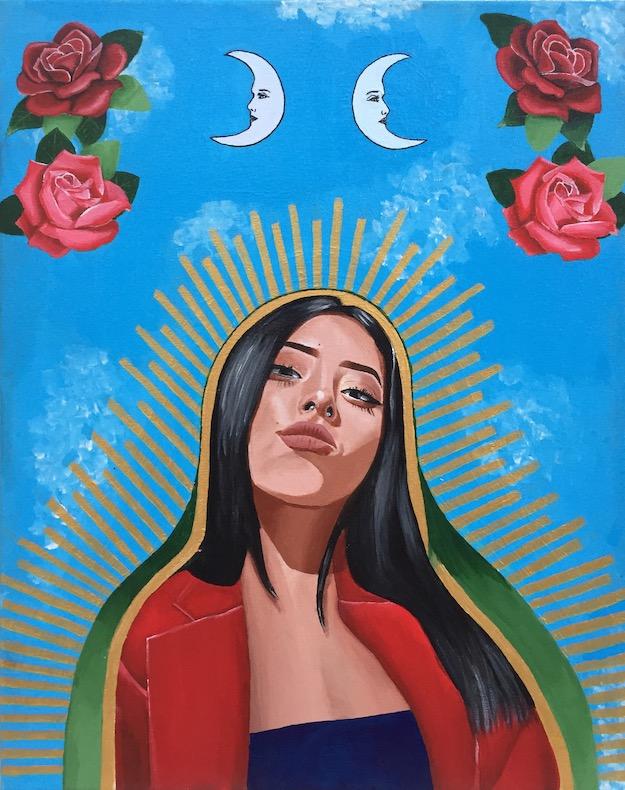 Lili Navarro,  Divine Femininity,  Acrylic on canvas, 16x20.