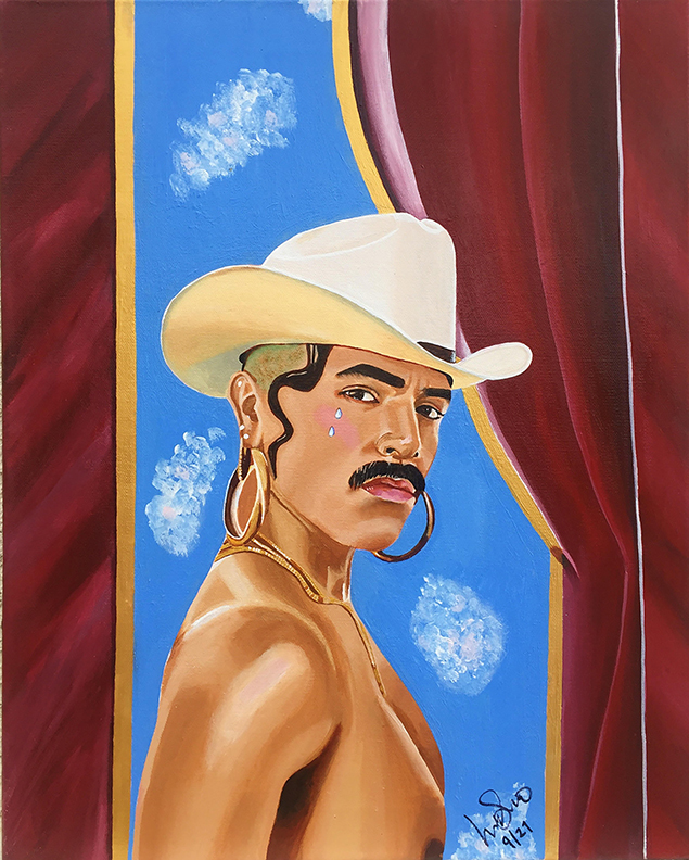 Lili Navarro,  Jose by the Red Curtains , Acrylic on canvas, 16x20.