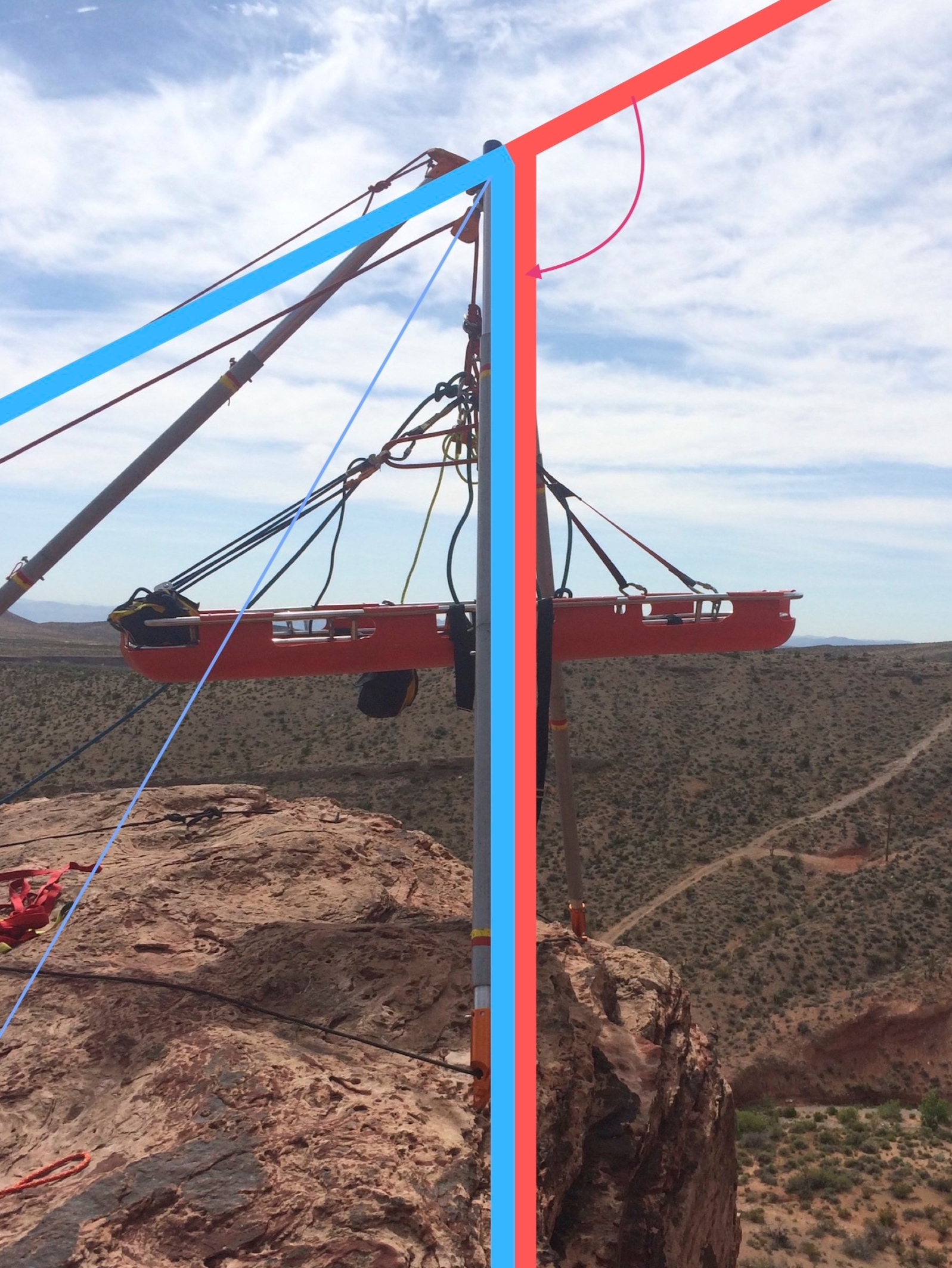 Training in Red Rock Canyon, NV. The angle in red is the deflection angle. The angle in blue is the interior angle. The resultant vector is also shown in blue.