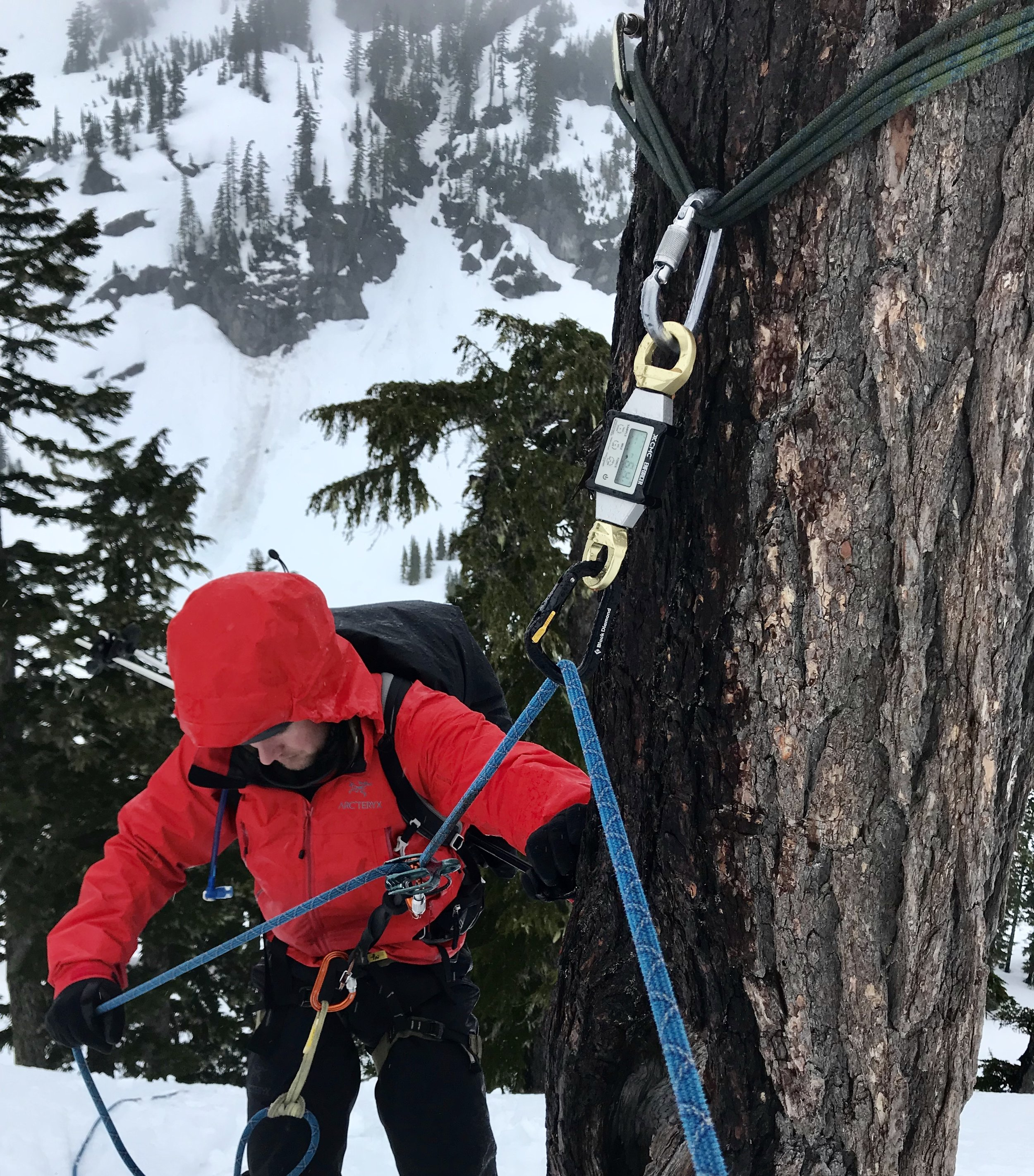 Mt. Baker Backcountry. A skier on rappel through an AHD. A shallow angle of deflection combined with terrain that is less than vertical places half of the actual load on the high directional anchor.