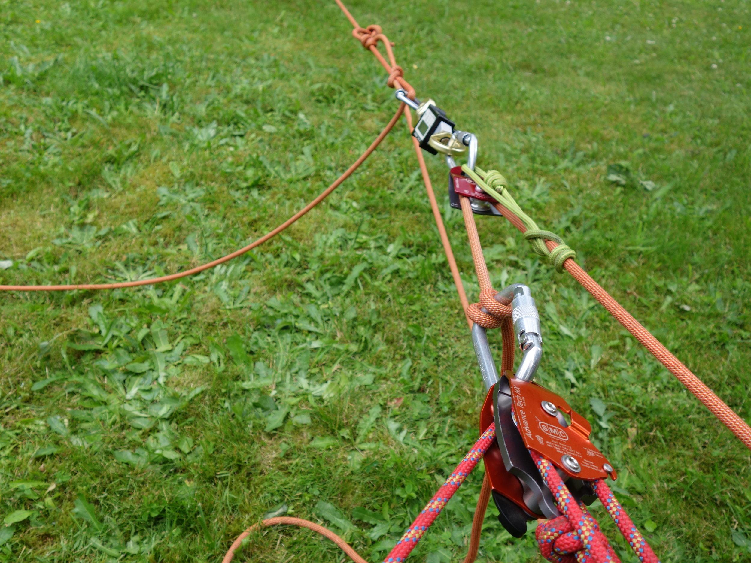 The testing set-up. 10:1 mechanical advantage rig.