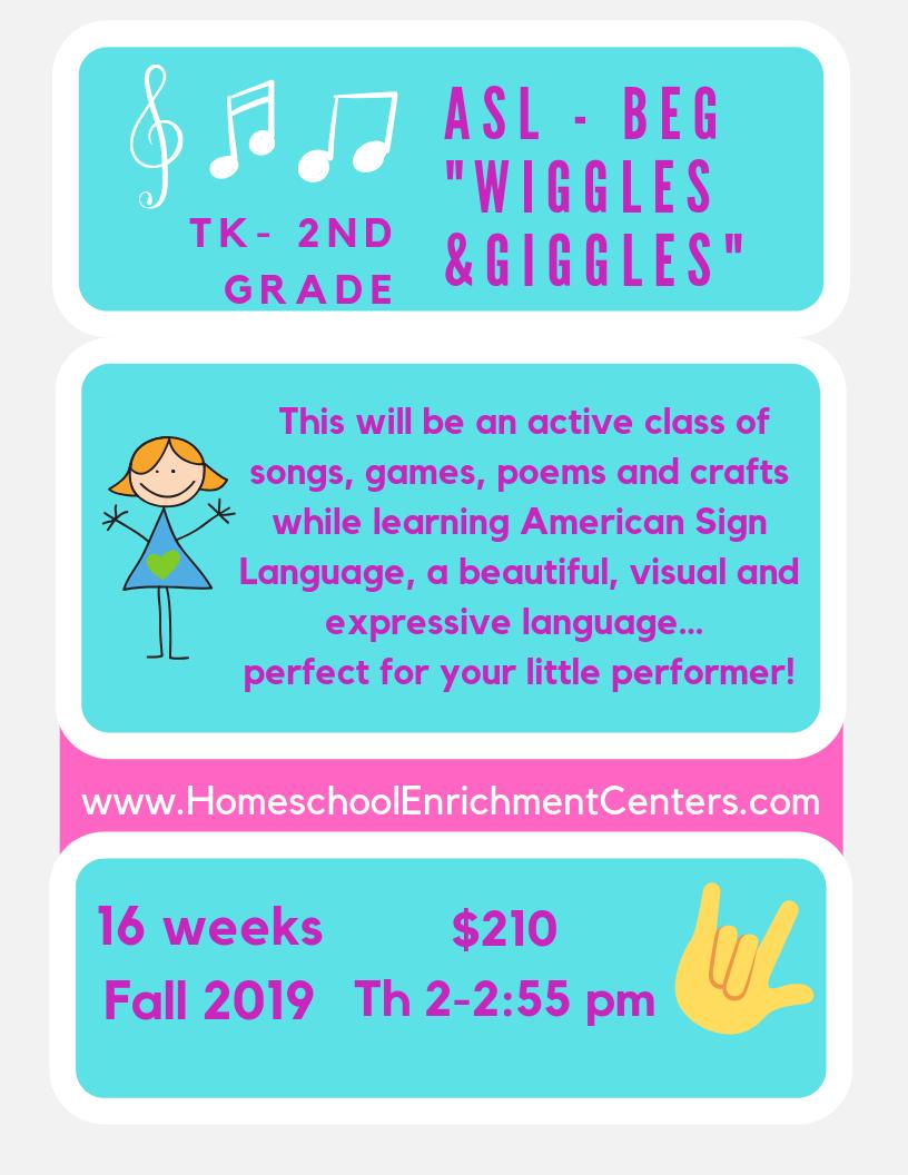 BEGINNING ASL - Classes start Thursday 9/5/19