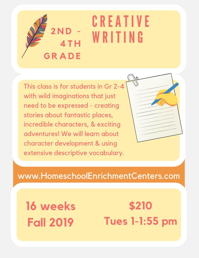 CREATIVE WRITING - Classes start Tuesday 9/3/2019